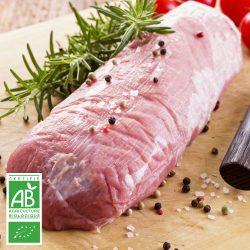 Filet de boeuf BIO à rôtir par la Ferme Bichet, viande de boeuf charolais bio à la ferme traditionnelle, domaine et prairies naturelles, livraison fraîcheur.
