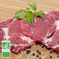 Entrecôtes BIO par 2 par la Ferme Bichet, viande de boeuf charolais bio à la ferme traditionnelle, domaine et prairies naturelles, livraison fraîcheur