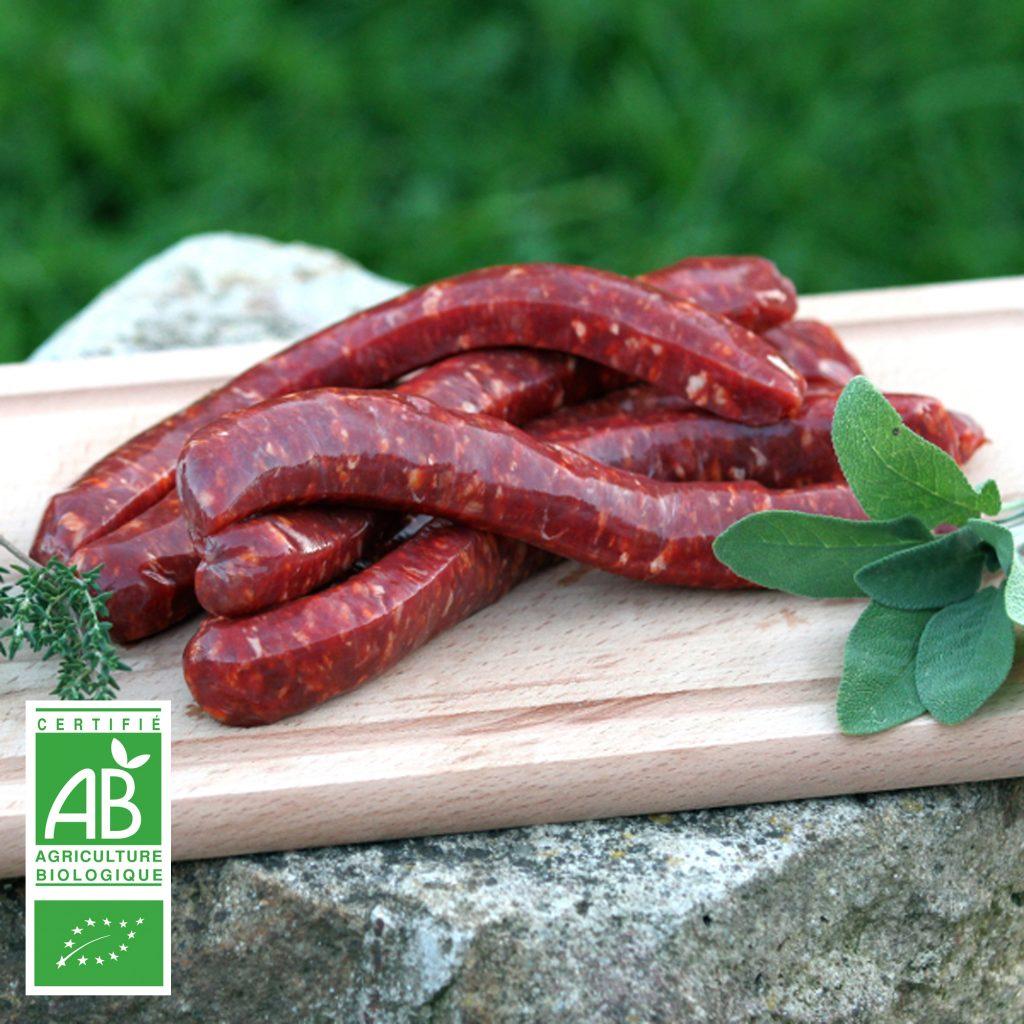 Merguez de bœuf BIO par 6 par la Ferme Bichet, viande de boeuf charolais bio à la ferme traditionnelle, domaine et prairies naturelles, livraison fraîcheur