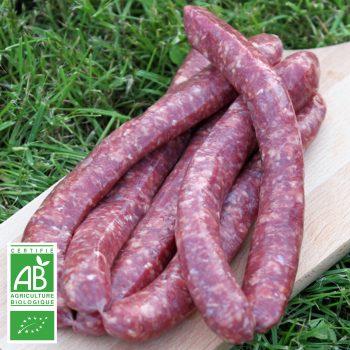 Saucisses de bœuf BIO par 6 par la Ferme Bichet, viande de boeuf charolais bio à la ferme traditionnelle, domaine et prairies naturelles, livraison fraîcheur.