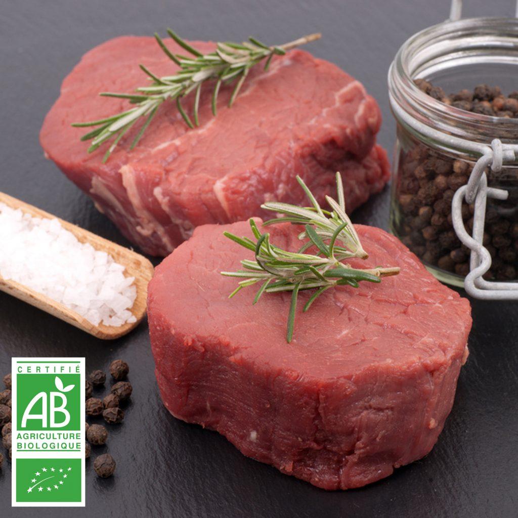 Filet de boeuf BIO en tournedos par 2 par la Ferme Bichet, viande de boeuf charolais bio à la ferme traditionnelle, domaine et prairies naturelles, livraison fraîcheur.