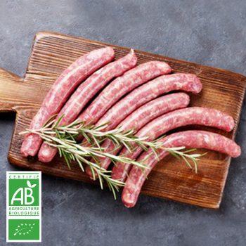 Saucisses de bœuf au piment d'Espelette BIO par 6 par la Ferme Bichet, viande de boeuf charolais bio à la ferme traditionnelle, domaine et prairies naturelles, livraison fraîcheur.