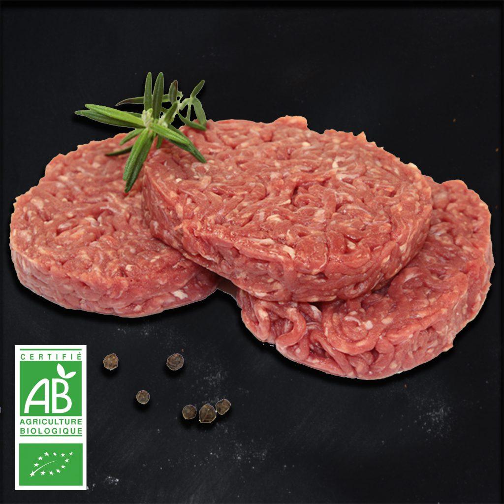 Préparation de viande hachée BIO par 2 par la Ferme Bichet, viande de boeuf charolais bio à la ferme traditionnelle, domaine et prairies naturelles, livraison fraîcheur.