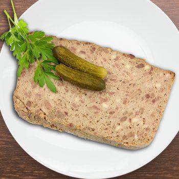 Pâté de la campagne charolaise au boeuf en 2 tranches par la Ferme Bichet, viande de boeuf charolais bio à la ferme traditionnelle, domaine et prairies naturelles, livraison fraîcheur.