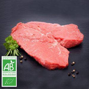 Beefsteaks BIO par 2 par la Ferme Bichet, viande de boeuf charolais bio à la ferme traditionnelle, domaine et prairies naturelles, livraison fraîcheur.
