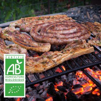 COLIS L'ESSENTIEL BARBECUE BIO par la Ferme Bichet, viande de boeuf charolais bio à la ferme traditionnelle, domaine et prairies naturelles, livraison fraîcheur.